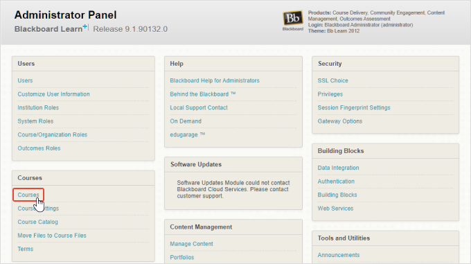 Courses in the Administrator Panel in Blackboard