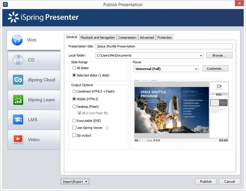 The Publish Presentation window in iSpring Presenter