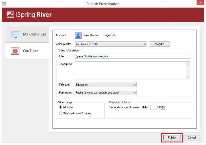 Picture 7: Click Publish and upload PowerPoint to YouTube