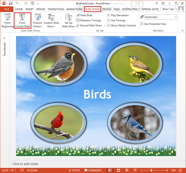 Picture 5: Preview flash cards in PowerPoint