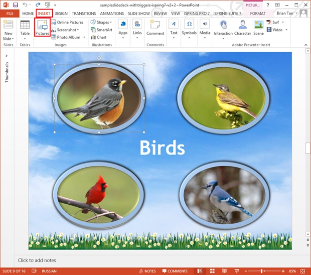 Picture 1: Add flash card clues to a PowerPoint slide