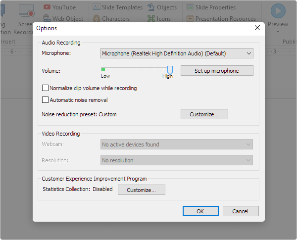 Enhanced audio recording settings in iSpring