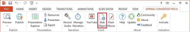 The Web Object button on the iSpring Converter Pro ribbon