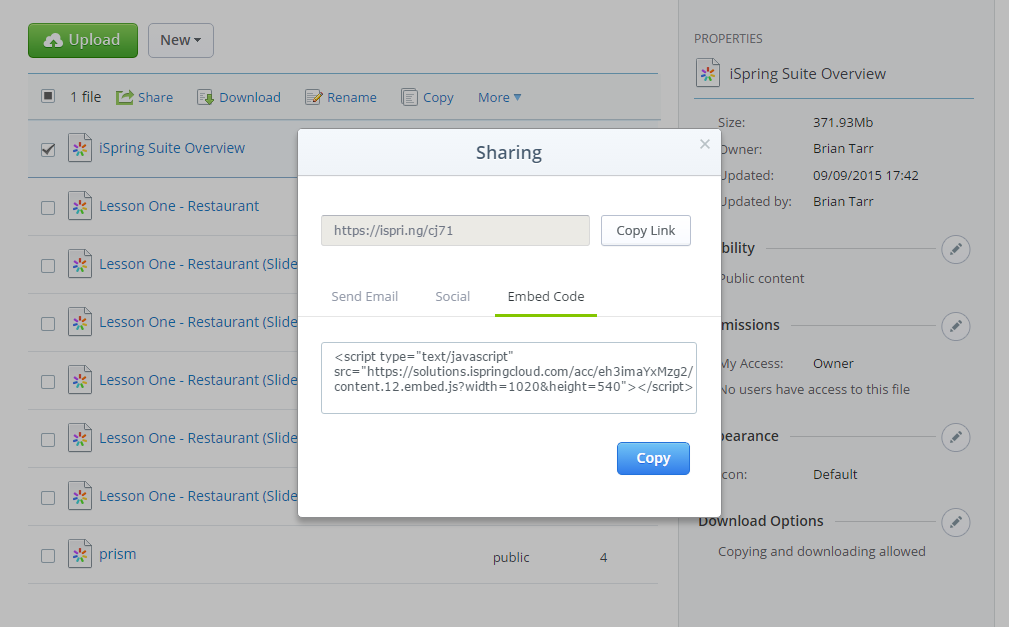 Screenshot of embed code in iSpring